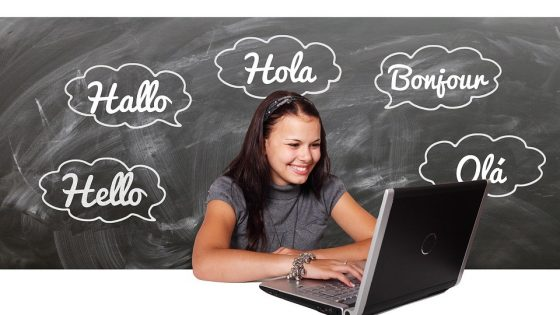 Girl Learning Languages on Laptop